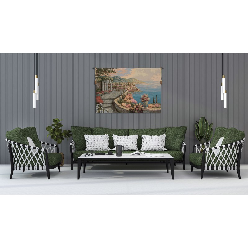 PROMENADE BY THE LAKE ITALIAN TAPESTRY WALL HANGING