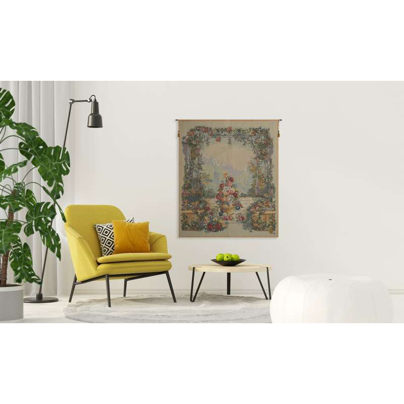 FLORAL LARGE FRENCH TAPESTRY WALL HANGING
